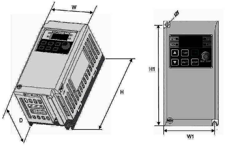 Wymiary falowników LG iE5